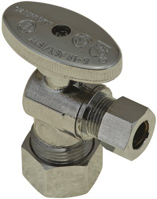 Durapro™ Quarter-Turn Angle Stop, 5/8 In. Od Compression X 3/8 In. Od Compression, Lead Free