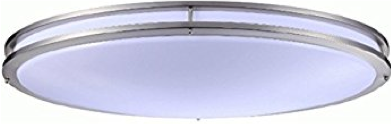 Monument® Oval Ceiling Fixture, White Acrylic Lens, Brushed Nickel, 32-1/2
