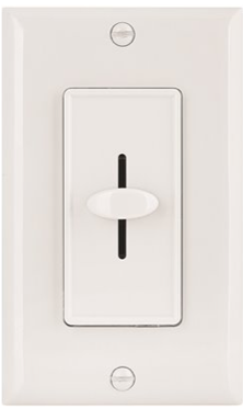 Preferred Industries™ Incandescent Single Pole Slide Dimmer, Wall plate Included, White, 120 Volts,