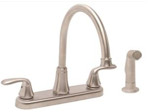 Premier® Waterfront™ Kitchen Faucet With Two Handles And Side Spray, Brushed Nickel, Lead Free