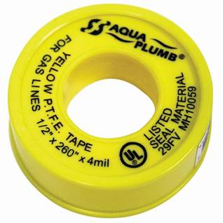 Yellow gas line thread seal tape, 4-mil thick