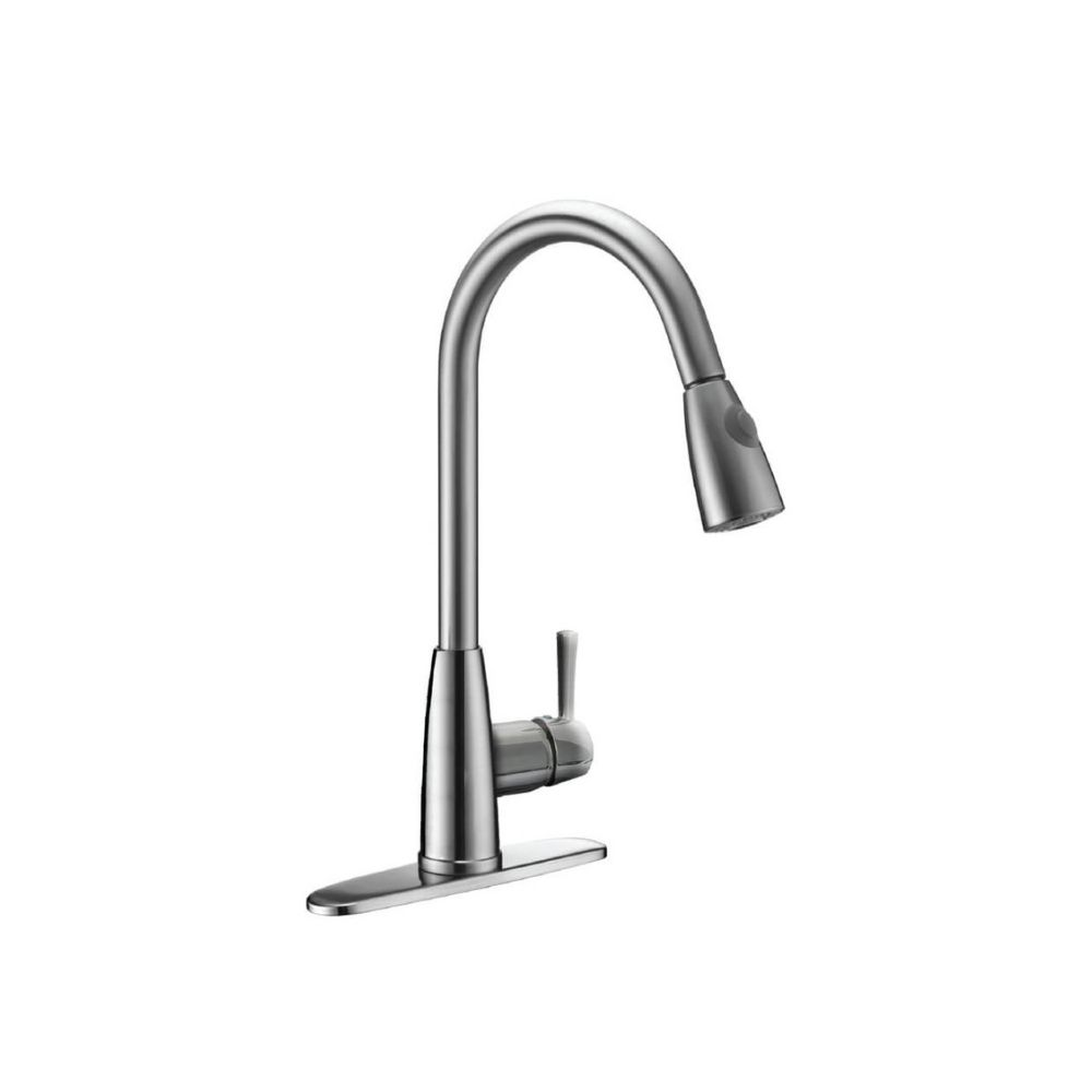 onestock Single Handle Kitchen Faucet with Pull-Down Spray in Brushed Nickel