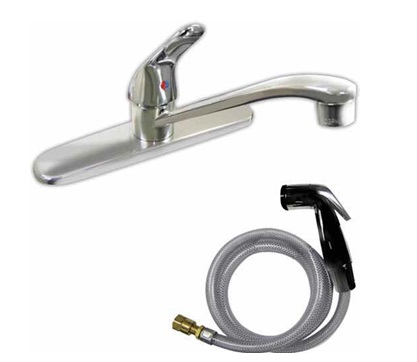 Kitchen, Single Handle Lever Faucet with Hose & Spray 77-1183