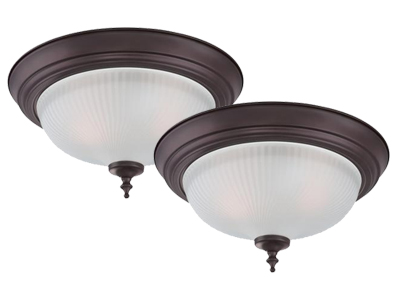 Two-Light Indoor Flush Ceiling Fixture (2-Pak)